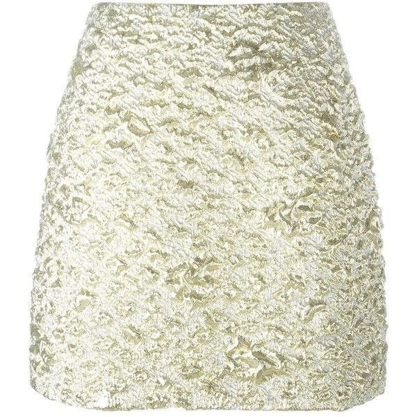 Kenzo Cloqué Mini Skirt (4.678.420 IDR) ❤ liked on Polyvore featuring skirts, mini skirts, metallic, white mini skirt, straight skirt, short miniskirt, metallic mini skirt and high-waist skirt