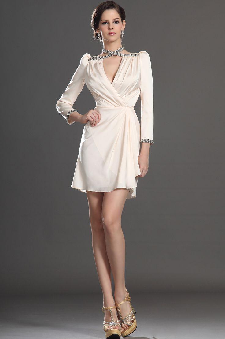 White dress cocktail party - White Short Elegant Cocktail Dress Long Sleeves Elegant Cocktail Dresses