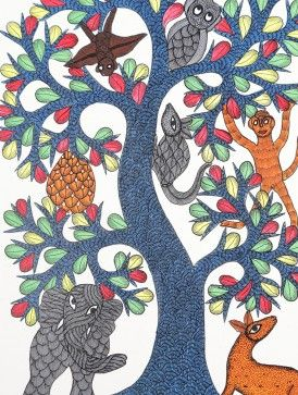 Tree of Life Gond Painting by Dwarka Prasad