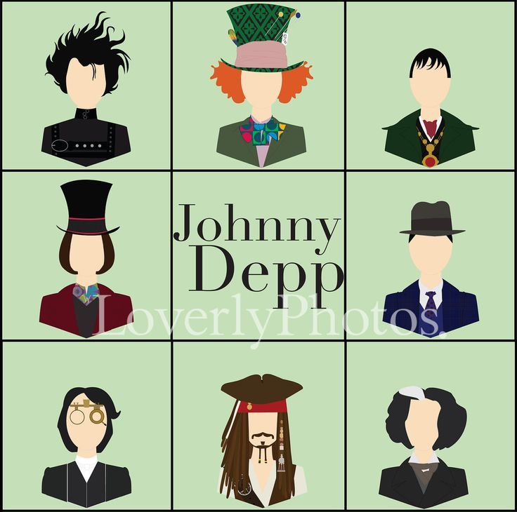 Johnny Depp Characters | Johnny Depp Character Print by LoverlyPhotos on Etsy