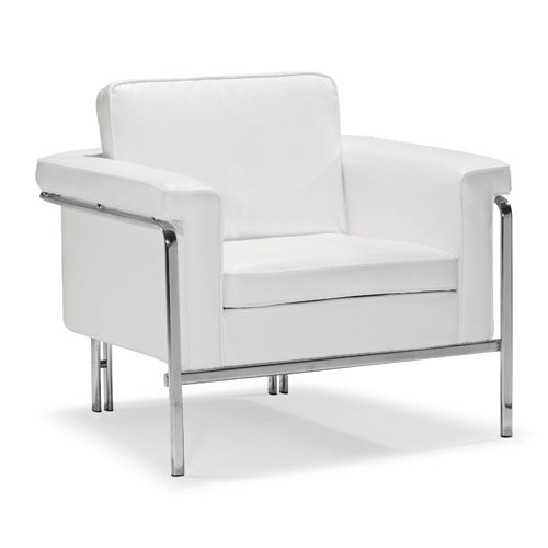 Singular White And Chromed Steel Arm Chair Zuo Modern Contemporary Glider Rocking Chairs A