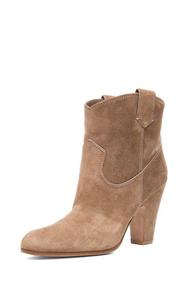 Gianvito Rossi|Western Suede Booties in Suede Bisque [2]