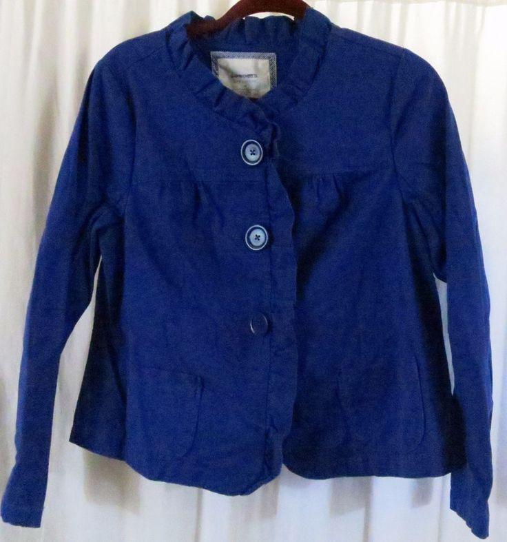 Sonoma Women Blue Jacket M Ruffles Cotton Spandex Solid Light Dress #Sonoma #DressJacket