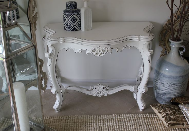 pure white chalk painted carved mahogany table