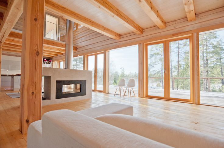 Modern log house, living room.