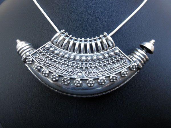 "India | Sterling silver ""Ta`wiz"" {pendant} from Uttar Pradesh | Considered a fertility amulet."
