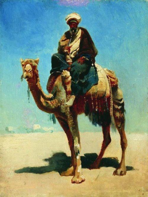 artist-vereshchagin:Arab on camel via Vasily Vereshchagin