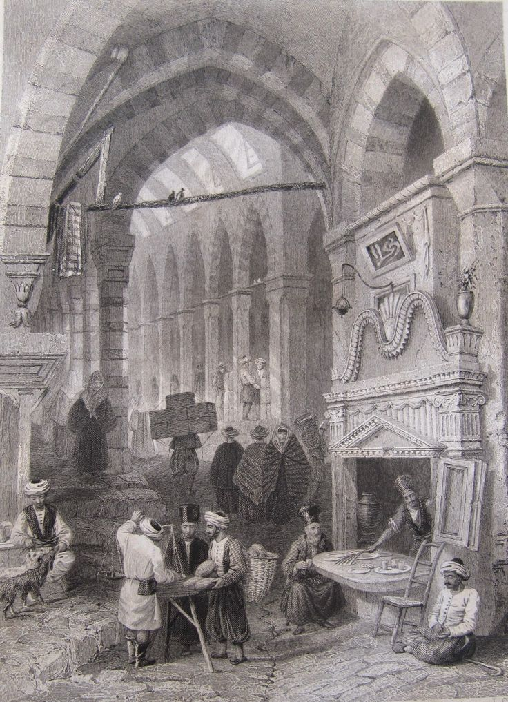 Kapalıçarşı'da Kaymakçı - Kaimac Shop in The Tchartchi - Miss Pardoe, 'The Beauties of the Bosphorus',  Londra 1838. Çelikbaskı.  William H. Bartlett