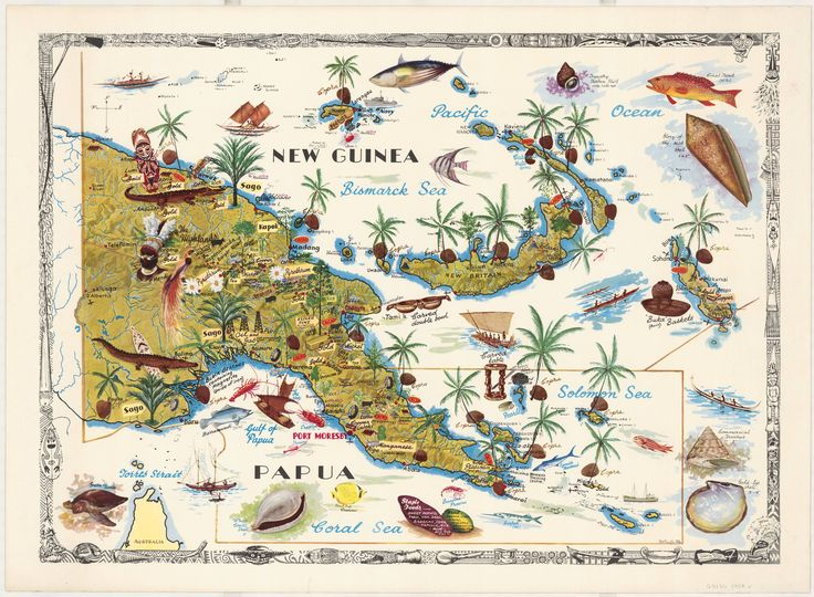 1964 pictorial map of Papua New Guinea