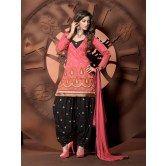 Beautifully Designed Peach Color Salwar Suit On Chanderi Cotton Fabric.