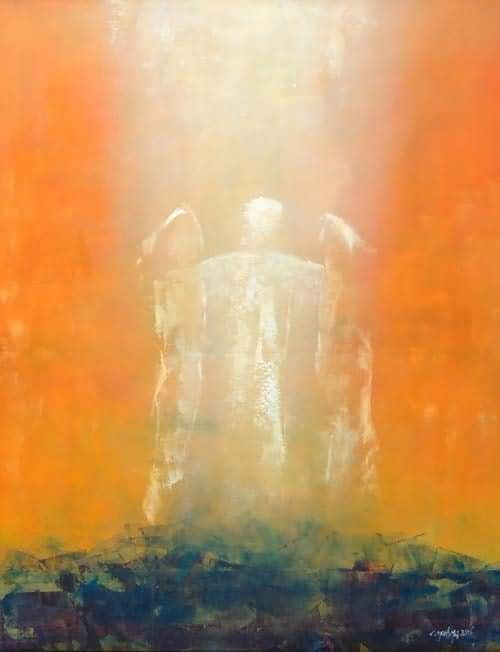 "Transfiguration of our Lord Jesus Christ | 2015 | Catholic Mass Readings | De verheerlijking (Cornelis Monsma, 2006, © Cornelis Monsma) | Mt 17:2-5 | While he was still speaking, behold, a bright cloud cast a shadow over them, then from the cloud came a voice that said, ""This is my beloved Son, with whom I am well pleased; listen to him.""."