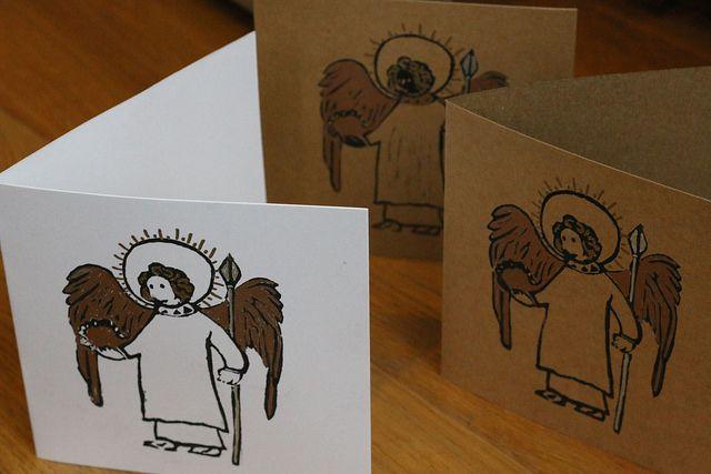 Lino Print Handmade Christmas Card