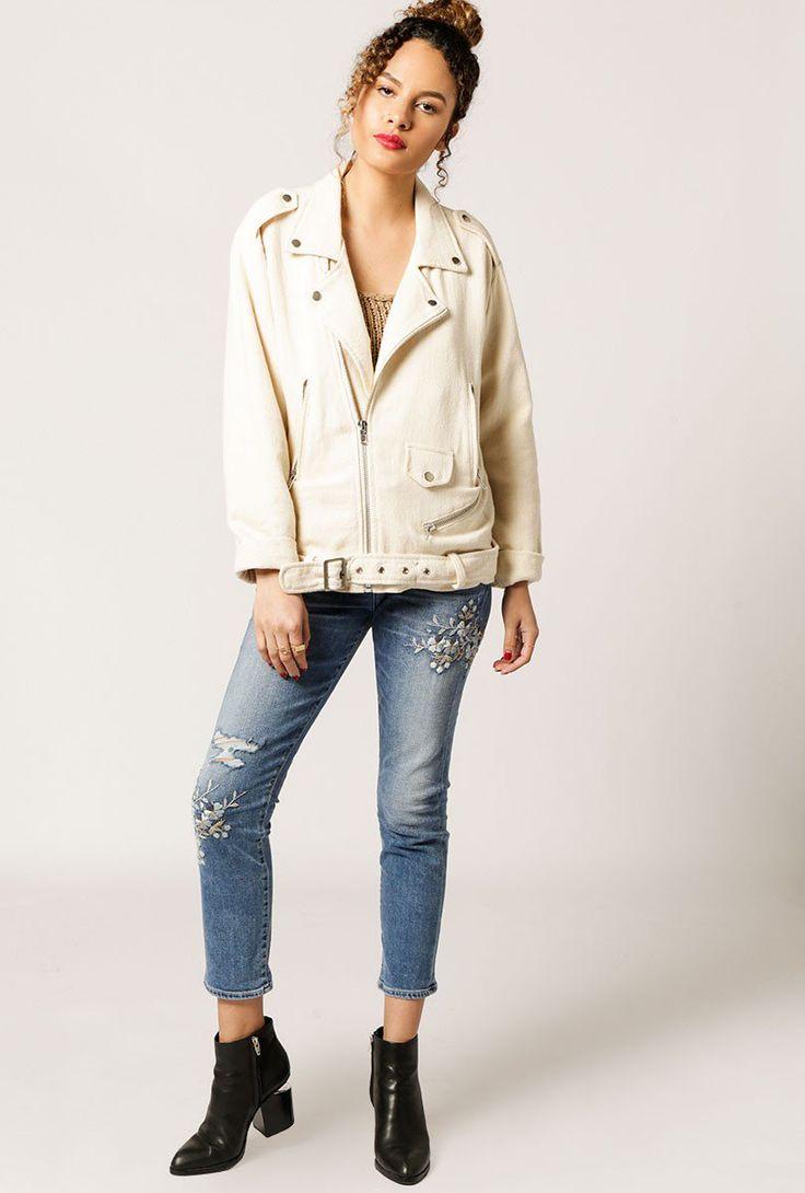 Azalea Biker Linen Jacket by Moon River - $72