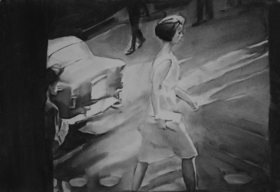' Walking Woman' 2010, pigment on paper, 15 x 22 inches, 38.74 x 55.88 cm