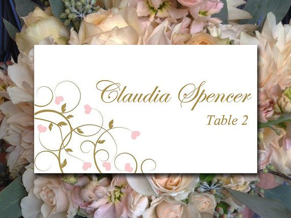 This designer place card set features our flourishing hearts design in antique gold and blush pink. Instantly download and print your own wedding place cards with this downloadable escort card! Your file is available immediately after purchase from your receipt.  ▬▬▬ COLOR CHANGE ▬▬▬ Prefer this design in a different color? Do not purchase this listing. Purchase our color change listing selecting our Place Card (flat) option instead: https://www.etsy.com/listing/186482391&...