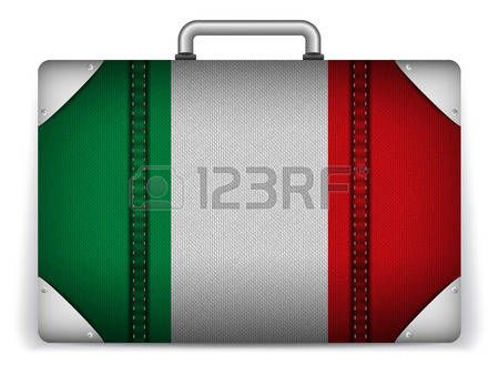 Vector - Italia equipaje del viaje con la bandera de Vacaciones