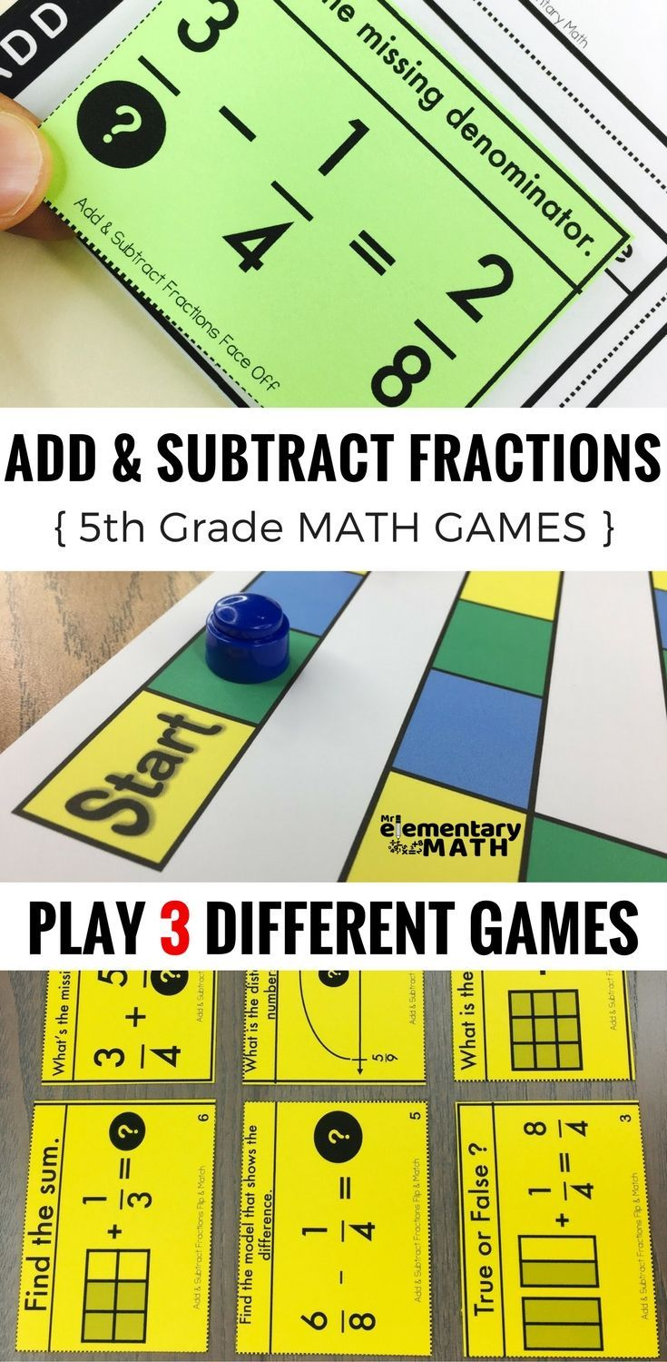 Adding and Subtracting Fractions games for your 5th grade students are a  fun alternative to workshee…   Fraction games [ 1500 x 735 Pixel ]