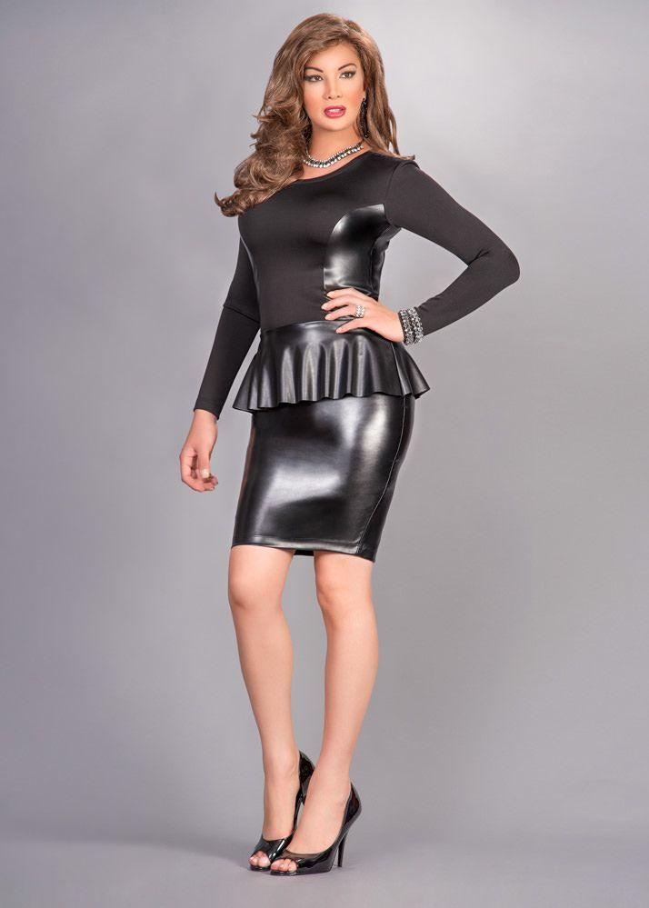 Body Contour Stretch Leather Peplum Dress | Shape, Leather ...