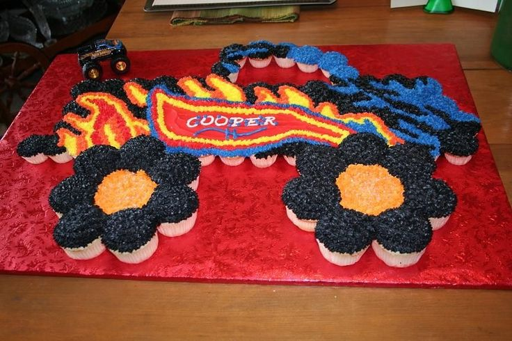 monster truck cupcake cake - Google Search