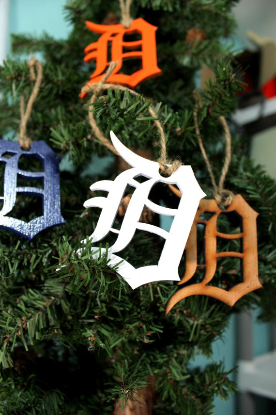 Recycled wood Detroit Tigers Ornament by ThePaperMarriage