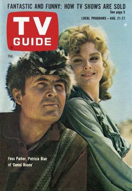 """TV Guide: August 21, 1965 - Fess Parker and Patricia Blair of """"Daniel Boone"""""""