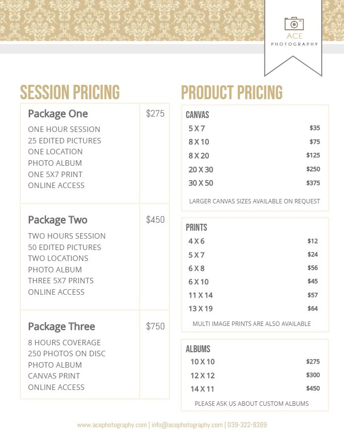 Photography Service Price List Flyer Template Modern With