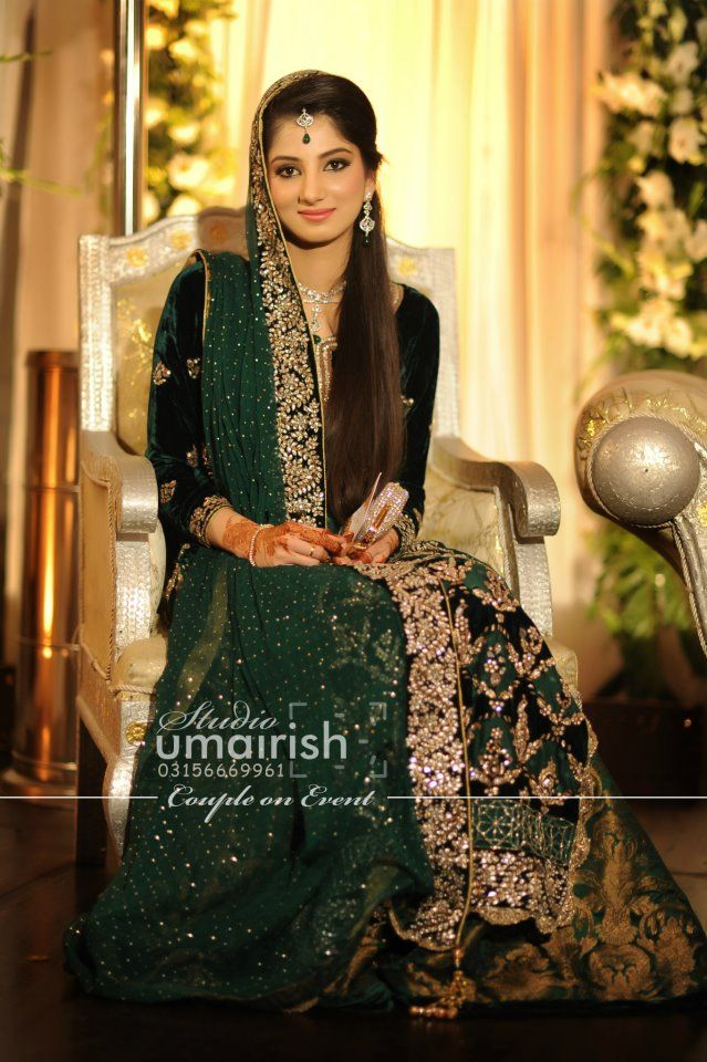 Pakistani bride, green, bridal Love the hair, the makeup, jewellery, The whole look!!!