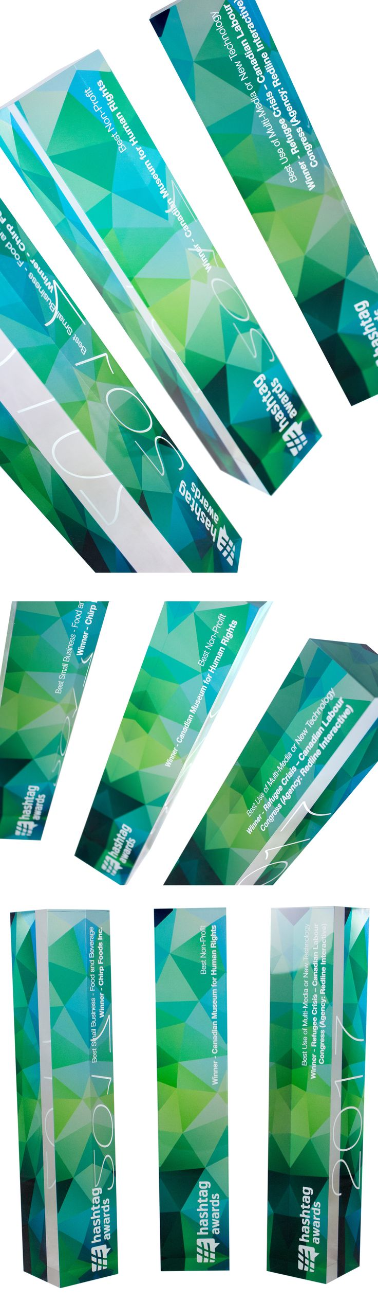 We produced these modern trophies for the 2017 Hashtag Awards. The awards were presented at the SocialWest conference in recognition for local business achievements. Dynamic and modern graphics reflect the tech industry as well as the natural landscape of Alberta. We printed in full colour on these clear acrylic awards with our UV flatbed printer. These awards look like glass or crystal, are just as heavy but will not break so easily making them a great solution for travelling award…