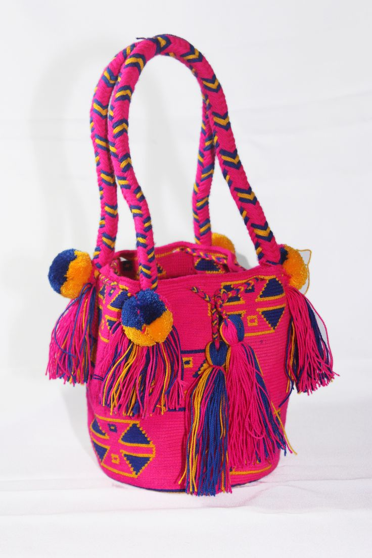 Bacano Bags and Hats - Small Hand-Woven Artesinal Colombian Wayuu Bag (Medium Violet/Dark-Blue/Gold), $39.00 (http://www.bacanobagsandhats.com/small-hand-woven-artesinal-colombian-wayuu-bag-medium-violet-dark-blue-gold/)