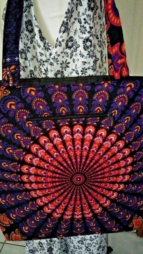 Beach Bag, Mandala Design Orange Purple and Black Brand New