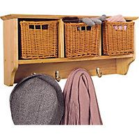 3 Basket Storage Unit with 4 Coat Hooks - Solid Pine.