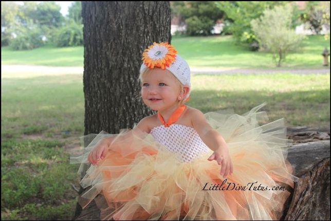 Candy Corn Themed Tutu Dress by www.littledivatutus.com @Kathy Davis-Reid Diva Tutus