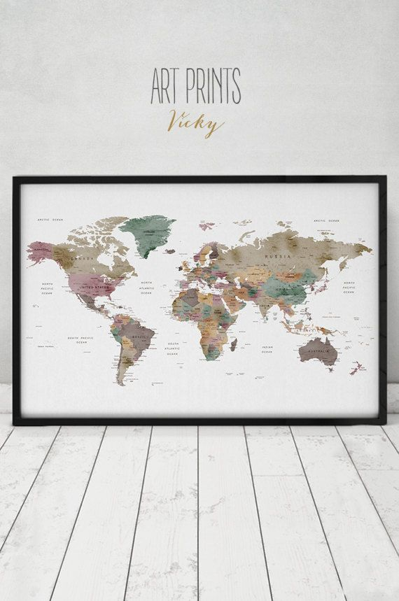Large world map poster, Detail world map print, travel map, world map with counties names, office decor, Home decor, ArtPrintsVicky.