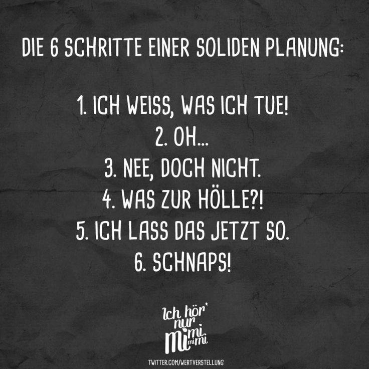Die 6 Schritte einer soliden Planung: 1. Ich weiß, was ich tue! 2. Oh… 3. Nee, doch nicht. 4. Was zur Hölle?! 5. Ich lass das jetzt so. 6. Schnaps – VISUAL STATEMENTS