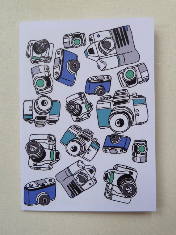 These Illustrated Blue Camera Pattern Greetings Cards are designed and illustrated by Rachel Ali Hawkins.