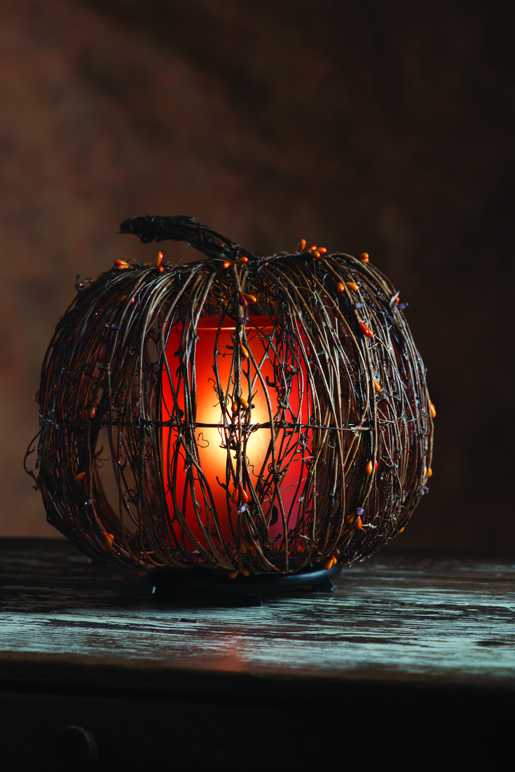 Pink Zebra Home Natural Twig Pumpkin shade featured with orange liner and base. One of my favorite fall decoration pieces for my home. Shade $45 Orange Liner and Base $25
