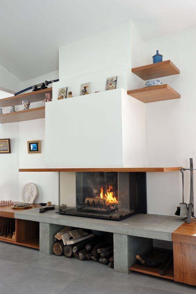 Cheminées Fariello Bordeaux | Cheminée contemporaine en staff à foyer ouvert