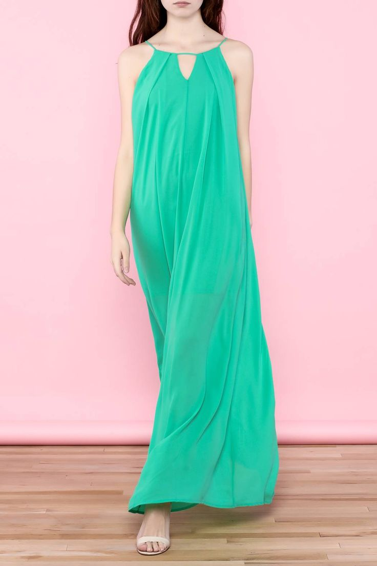 Green maxi dress has a key hole cut out that creates a slightly pleated detail and has a matching back cut out with a tassel tie. This basic and stunning maxi dress takes you from day to night with it's soft chiffon fabric and high neckline.   Green Maxi Dress by She + Sky. Clothing - Dresses - Casual Clothing - Dresses - Maxi Indiana