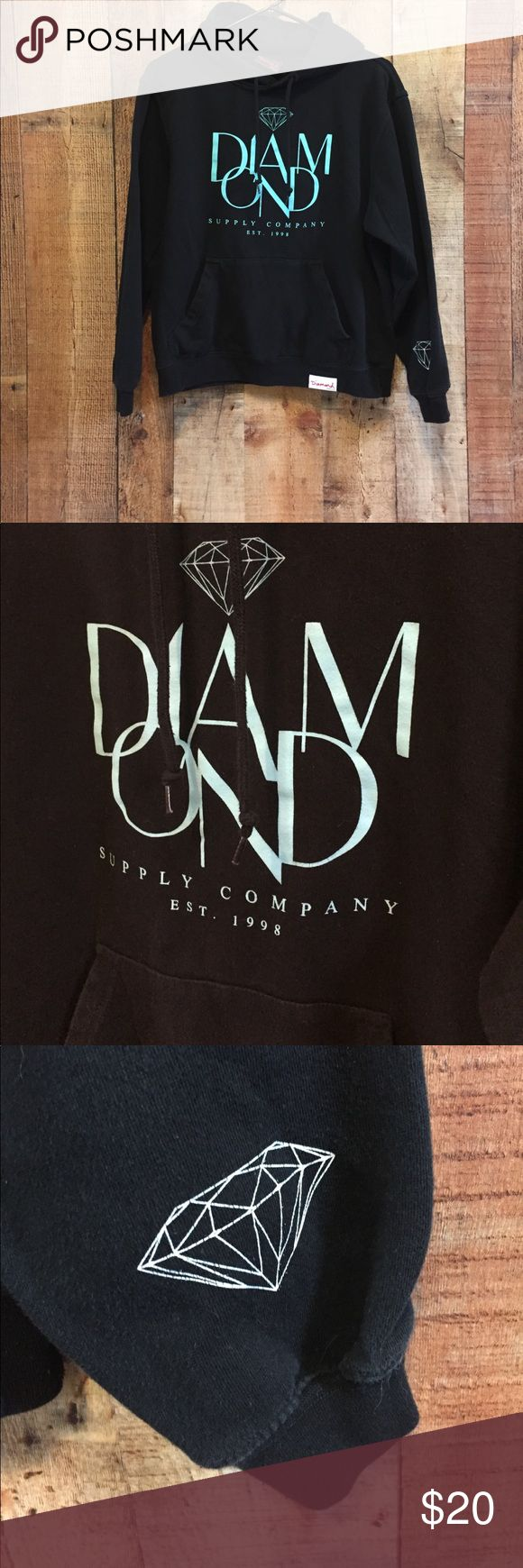 Diamond Supply Company Hoodie Black Diamond Supply Company hoodie. Writing is in turquoise. In great shape. Some normal pilling along the bottom ribbing but nothing noticeable. Has front pouch for keeping both hands warm.  80% Cotton / 20% Polyester  Machine Wash Cold / Line Dry  Size M BUT fits like a Small Diamond Supply Co. Tops Sweatshirts & Hoodies