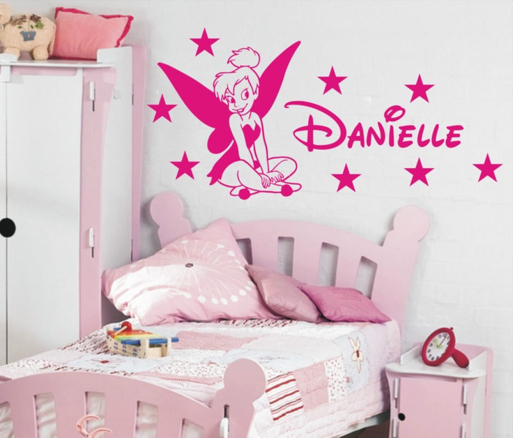 Tinkerbell Personalised girls bedroom wall sticker kit, loads of colours |  eBay