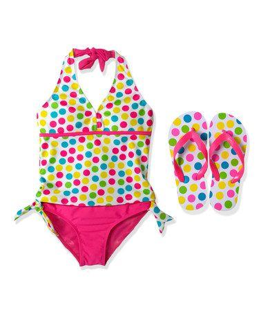 Pink Polka Dot Tankini & Flip-Flops - Girls #zulily #zulilyfinds