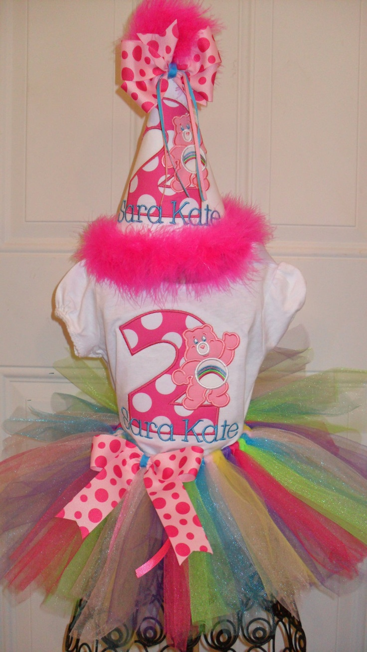 Boutique First Birthday Care Bear Applique Shirt, Tutu, and Party Hat. .
