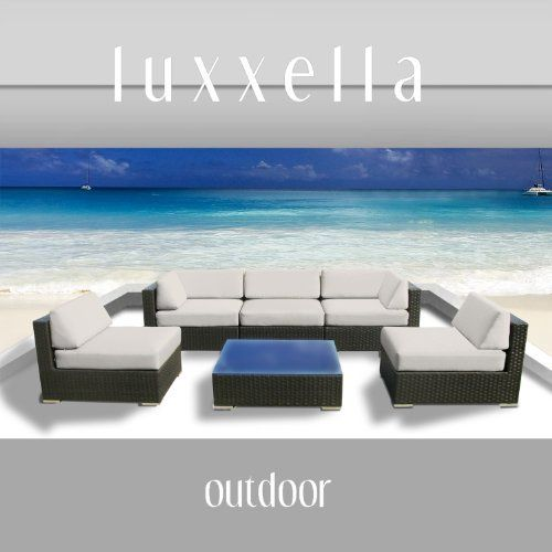Luxxella Outdoor Patio Couch Wicker Furniture 6pc All Weather Sofa Bella 6 Set OFFWHITE by Luxxella. $1349.00. All Weather Expresso Brown PE Resin Wicker Sofa Set offers a modular design, that makes it possible for flexibility with numerous arrangement options. Curbside delivery with signature required. Factory Direct Price (MSRP $3199.00). All Luxxella Collection are exclusively made by Luxxella. 6pc Set consists of 2 Corner sofas + 3 Middle Sofas + 1 Coffee Table + 1 Temper...