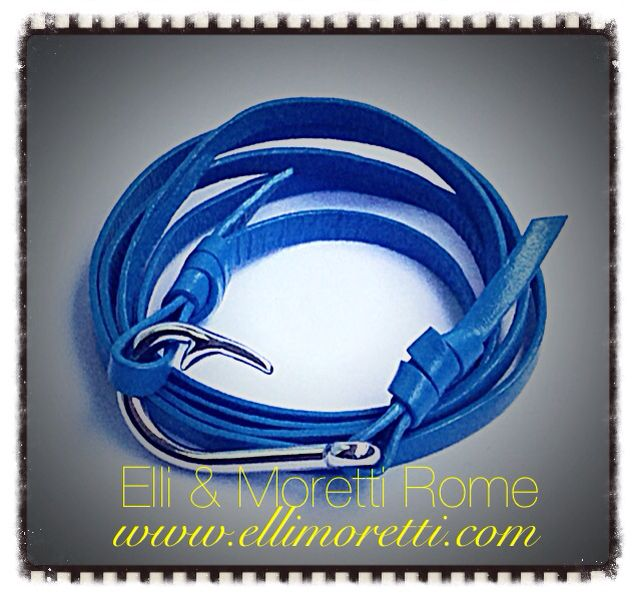 Blue leather Silver fishing hook bracelet  www.ellimoretti.com