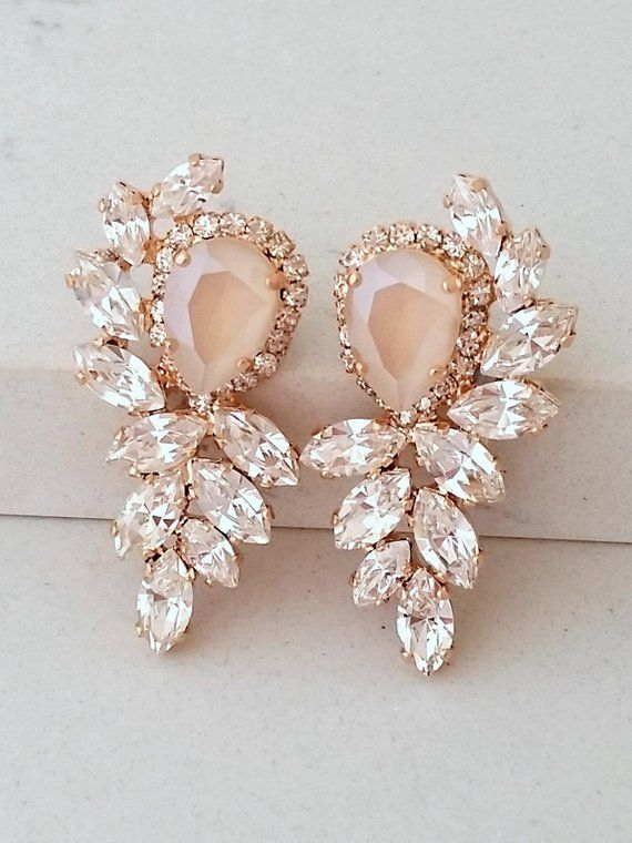 Stunning vintage gold champagne /& white crystal bling bridal statement earrings