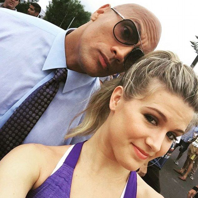 The 21-yeear-old posted a picture on the 'Ballers' set alongside actor and former wrestler...