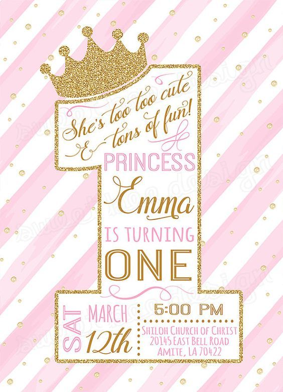 First Princess Birthday Invitation Gold Glitter 1st Girls One Pink White Watercolor