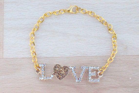 Gold Love Bracelet  Rhinestone Bracelet  Gold by SkadiJewelry