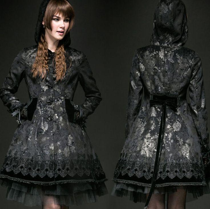 Punk Rave Secret Garden Black Coat Butterfly Print Gothic Lolita Victorian Goth #PunkRave #BasicCoat