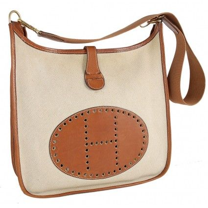 Hermes Beige Toile H \u0026amp; Caramel Leather Evelyne GM Bag | Hermes ...